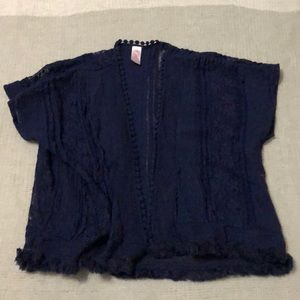 JUSTICE Navy Lace Pea Coat